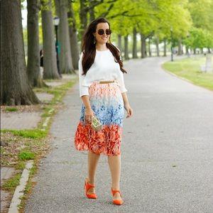 Floral accordion pleated midi skirt H&M